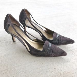 Ann Taylor Brown Pointed Leather Heels Size 8.5M